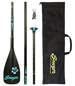 Sawyer Storm Traveler 3-Piece Adjustable Stand-Up Paddle and Fiberglass Shaft with 100 Square Inch CFRT Blade, Black/Blue, 67-83-Inch