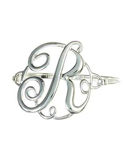 Designer Initials Ring - Jewelry Nexus Initial R MONOGRAM Designer Silver-tone Filigree Wire Bracelet