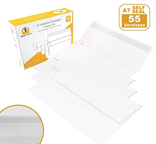 55 5x7 White Invitation Envelopes - for 5x7 Cards - A7 - (5 ¼ x 7 ¼ inches) - Perfect for Weddings, Graduations, Baby Showers - 120 GSM - 32lb/80lb ()