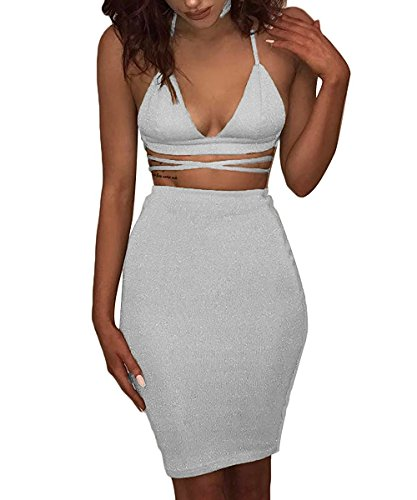 Doramode Ladies Sparkling Glitter Deep V Neck Bandage Tight Elastic Waist Mid Cute 2 Pieces Party Club Dress White (Sexy Low Cut White Dress)