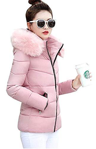 Invierno Pink Bolsillos Corto Manga Capucha Joven Plumas con Abrigos Unicolor Mujer Moda con Fiesta Delanteros Larga Cremallera Caliente Capa Outwear ERSpHqW