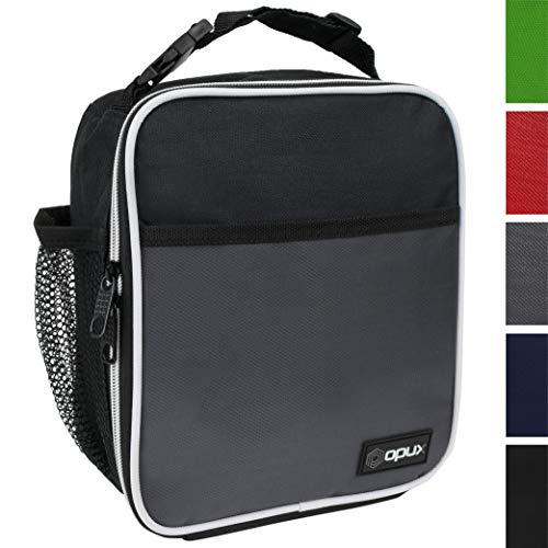 OPUX Premium Insulated Lunch Box | Soft Leakproof School Lunch Bag for Kids, Boys, Girls | Durable Reusable Work Lunch Pail Cooler for Adult Men, Women, Office – Fits 6 Cans (Grey)