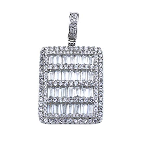 (SA106 Rectangular Cubic Zirconia Dog Tag Micro Pave Brass Pendant 18K White Gold Plated)