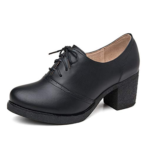 Women's Leather Oxfords Shoes Brogue Wingtip Lace up Dress Shoes Chunky Mid Heel Pumps Black