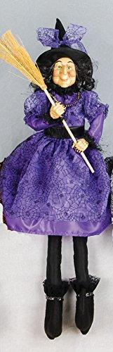 Large Vintage Style Sitting Witch Decoration Halloween Decor (Purple)