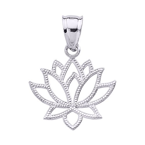 Pendant Flower Design Lotus (925 Sterling Silver Open Design Lotus Flower Pendant)