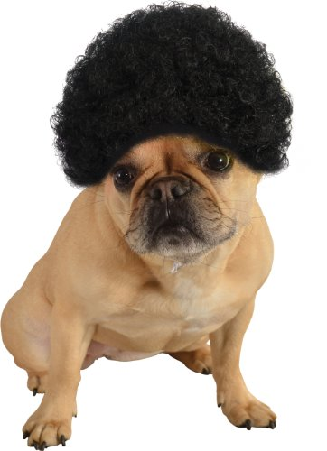 Rubie's Pet Costume Afro Curly Wig, Medium To Large, Black]()