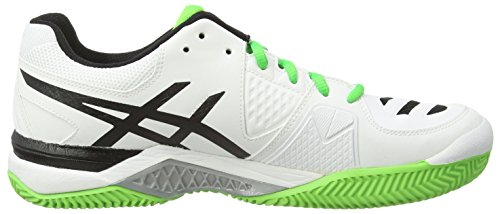 asics Gel-Challenger 10 Clay - Zapatillas de tenis de sintético para hombre Blanco (White/Silver/Flash Green 0193)
