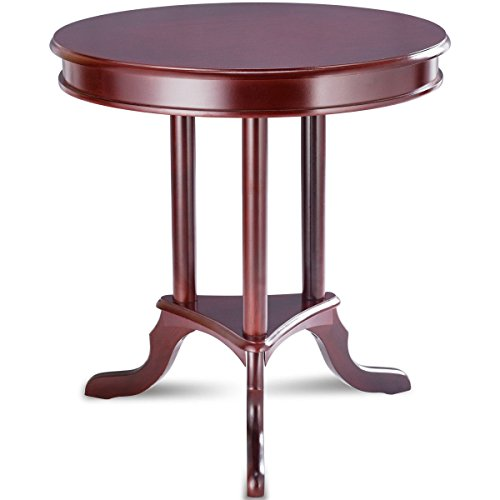 (Table Shelf Mahogany Wood Combines Elegance Round End Table Side Display Area Decor Home Office Condo)