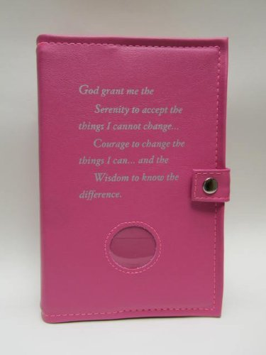 Deluxe Double Alcoholics Anonymous AA Big Book & 12 Steps & 12 Traditions Book Cover Medallion Holder Pink