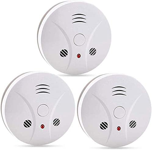3 Pack Fire Alarms Smoke Detector Battery Operated with Photoelectric Sensor and Silence Button, Travel Portable Smoke Alarms
