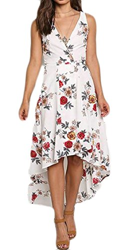 High Dress Low Jaycargogo White Neck Womens Floral Maxi Chiffon Party V Printed xwqqSBvY0