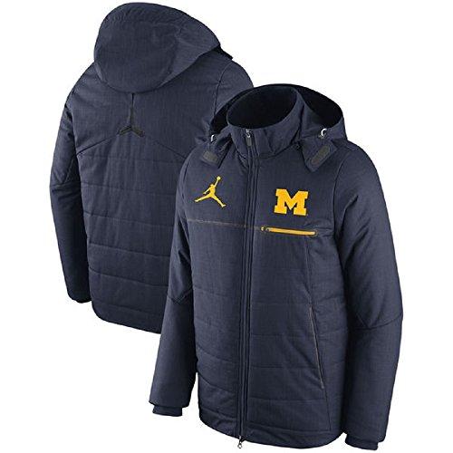 NIKE University of Michigan Wolverines Air Jordan Sideline Flash Heavyweight Jacket (Size: Small) Navy/Maize by NIKE