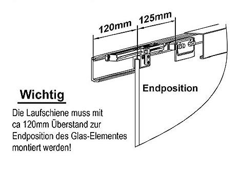 Klarglas; Schienensystem ALU SlimLine SoftClose; Griffstange rund 600 Schiebet/ürsystem ESG 1025x2050x8mm Dekor C BC-1025-600-ASE