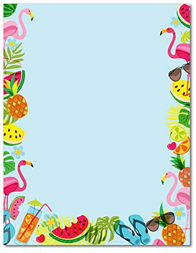 Tropical Vibes Stationary Paper - 80 Sheets - Great For Birthdays, Summer Events, and Themed Parties