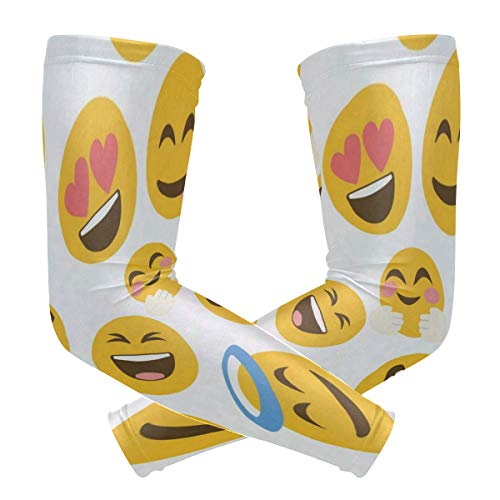 Arm Sleeves Funny Emoji Emotions Man Baseball Long Cooling Sleeves Sun UV Compression Arm Covers