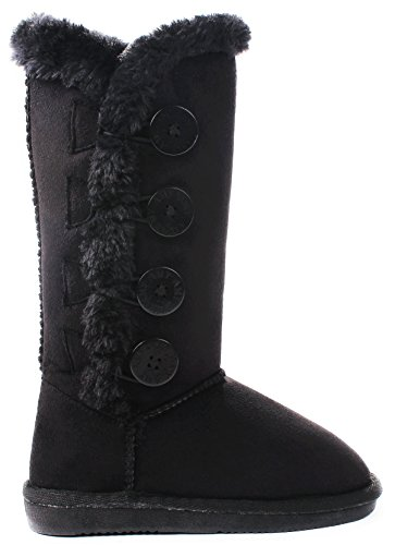 Kids Girls Amy Black Wooden Button Faux Fur Lined Shearling Mid Calf Winter Boots-4 -