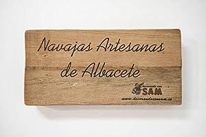 Navaja de Albacete Hecha a Mano Modelo Teja Especial España Sam, Incluye Estuche de Madera, Hoja de 8,5cm. Incluye Imán de Madera Personalizable de Regalo.: Amazon.es: Deportes y aire libre