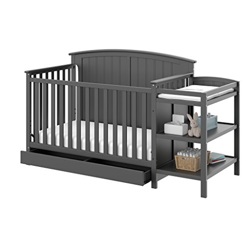 Storkcraft Steveston 4-in-1 Convertible Crib and Changer with Drawer, Gray, Easily Converts to Toddler Bed, Day Bed or Full Bed, 3 Position Adjustable Height Mattress (Mattress Not Included)
