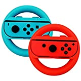 for Nintendo Switch - Joy-Con Wheel Handles Controller Steering Racing Wheel Bracket (1Red , 1Blue)