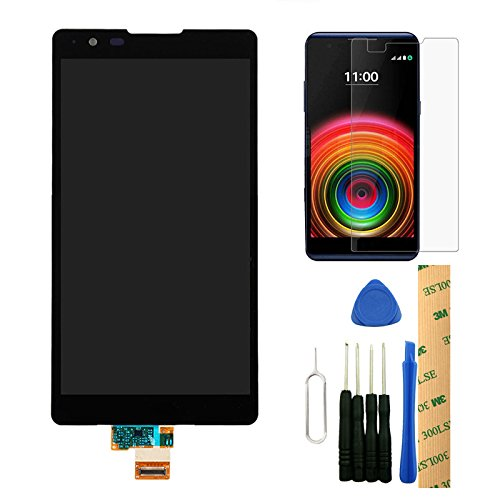 For LG X Power X3 K220DS K220DSK K210 K450 K220 Black LCD Display Touch Screen Digitizer Assembly Replacement Repair Part with Tempered Glass Screen Protector and Tools