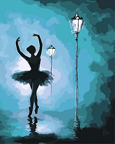 (ABEUTY DIY Paint by Numbers for Adults Beginner - Ballerina & Street Light 16x20 inches Number Painting Anti Stress Toys (Wooden Framed))