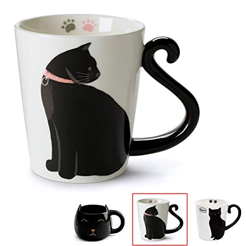 Cute Cat Mug for Coffee or Tea: Ceramic Cup for Cat Lovers with Black and White Kitty and Tail Shaped Handle - Unique 11 Oz Accessories Mugs Make Best Presents for Pet Mom or Dad, Coworker and More