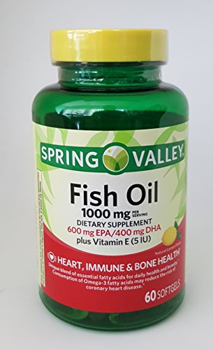 Spring Valley Fish Oil 1000mg Dietary Supplement 600mg EPA/400mg DHA Plus Vitamin E (5 IU), Heart, Immune and Bone Health, 60 softgels, Natural Lemon Flavor
