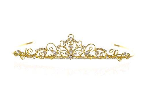 Wire Scroll Bridal Princess Crystal Wedding Tiara - Gold Plated T1179 (Birthday Scroll)