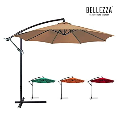 Bellezza© Premium Patio Umbrella 10' Feet Patio Tilt W/ Crank Outdoor Cantilever, Beige