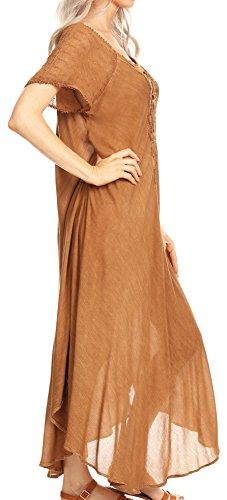 di indumenti Sakka con maniche donna da da ricamato camicia notte notte Helena occhiello Caffè gZwPpAq