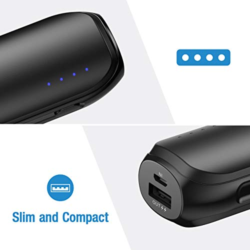 Aibocn Slim Power Bank 6700mAh Portable Charger for iPhone 8/X/XR, iPad, Samsung Edge, Huawei Black