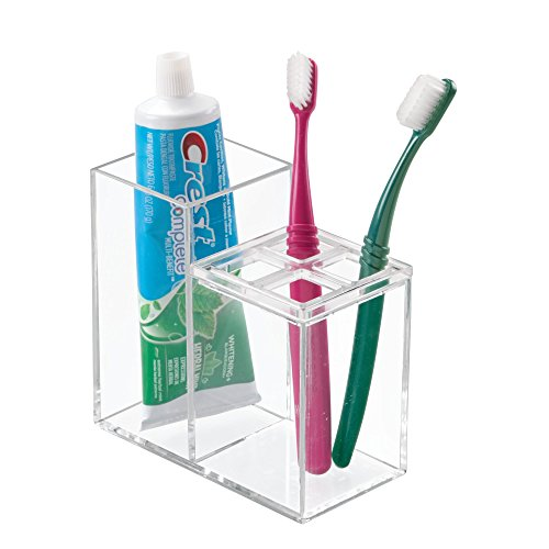 mDesign Bathroom Dental Organizer for Toothbrush, Toothpaste - Clear (Holder Plastic Toothbrush)