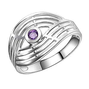 Size 6 Purple Cubic Zircon Silver Tone Ring