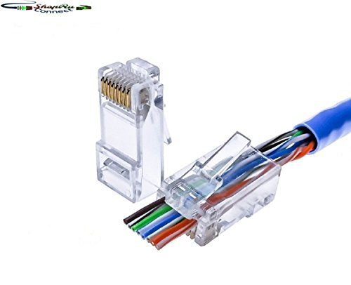 RJ45 8P8C CAT5 CAT5e Connectors - EZ End Pass Through Ethernet RJ45 Gold Plated Network Cable Clamshell CAT 5/5e Connector One-Piece High Performance Modular Crimp Plug (Cat5/5e 50 (Cat5 Modular Connectors)