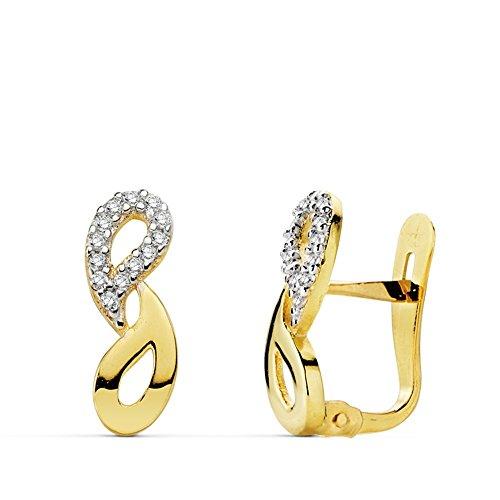 Boucled'oreille 13mm 18k zircons bicolor d'or. Première Communion [AB0757]