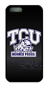 iPhone 5 Case,iPhone 5S Case,TCU Horned Frogs on Black PC Hard Shell Black Edges Case for iPhone 5 5S