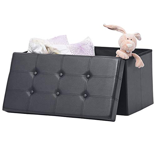 """AuAg 30"""" Folding Storage Ottoman Bench Faux Leather Toy Box/Chest Window Padded Seat Foot Rest Storage Easy to Assemble (Black, 30"""")"""