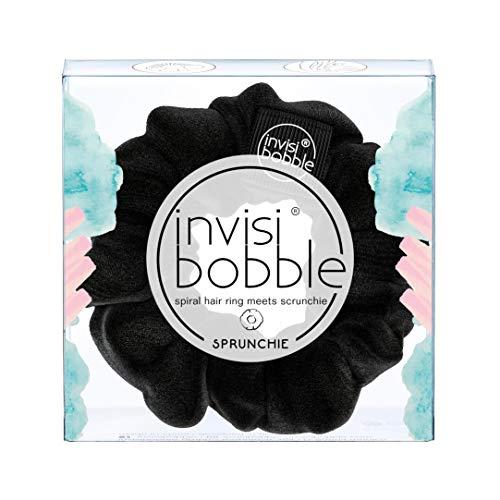 invisibobble SPRUNCHIE, True Black - Spiralhaarring trifft auf Haargummi, kein Knicken, starker Halt, modisches Armband, 90er Jahre Trend - für alle Haartypen geeignet