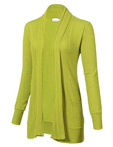 ARC Studio Women's Long Sleeve Open Front Draped Cardigans Pocket M Lime
