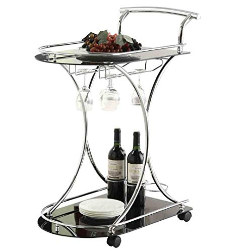 Serving Cart with 2 Glass Shelves Chrome and Black from Coaster Home Furnishings