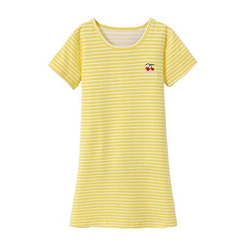 Allmeingeld Big Girls' Cherry Nightgowns Stripes Sleep Shirts Candy Night Dress Yellow 12