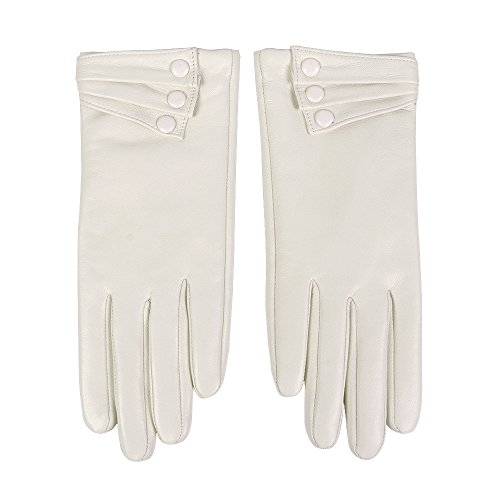 Leather Winter Mitten - Nappaglo Nappa Leather Gloves Warm Lining Winter Button Decoration Imported Leather Lambskin Gloves for Women (L, White)