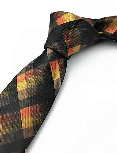 Secdtie Men's Classic Checks Dark Blue Grey Jacquard Woven Silk Tie Necktie