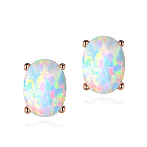 Rose Gold Plated Oval White Fire Opal Birthstone Stud Earrings Nickel Free for Women Girls (Oval Vintage Style Ring Setting)