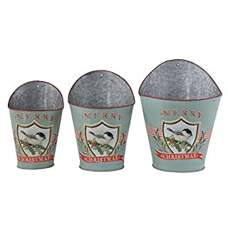 Creative Co-op Merry Christmas/Bird Emblem Wall Buckets (Set of 3 Sizes) Metal Non-Food Storage, Grey