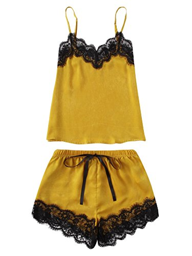 MAKEMECHIC Women's Lace Satin Sleepwear Cami Top and Shorts Pajama Set Yellow M