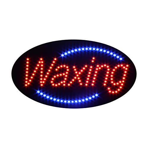 LED Waxing Open Light Sign Super Bright Electric Advertising Display Board for Nails Spa Facial Massage Message Business Shop Store Window Bedroom 19 x 10 inches (HSW0001) ()