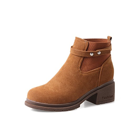 YE Damen Chelsea Boots Chunky Heels Ankle Boots Plateau Stiefeletten Bequem Elegant Schuhe Braun