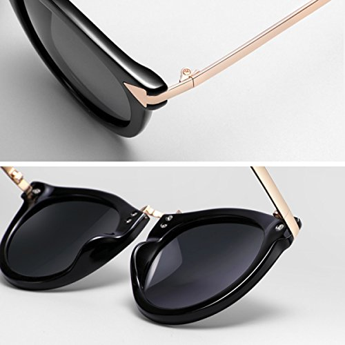 Moda Silver Sol Lqqazy Gafas Redonda silver De Caja Grande Conducción Polarizador Cara Sol Mujer Retro fZC18f
